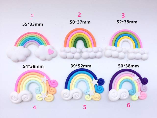 High Quality Beauty 6 Colors Kawaii Spiral Rainbow Lollipop Candy Polymer Clay Cabochons Flatback For DIY