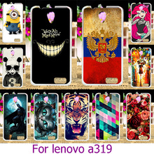 Soft TPU Hard Plastic Phone Painted Case For Lenovo A319 4.5 inch A 319 Painted Case Cat Cover Shell Housing Back Skin Cover