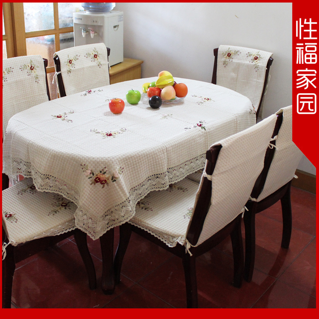 58 ribbon embroidery table cloth chair cover fabric tablecloth dining table cloth 100% cotton canvas table cloth