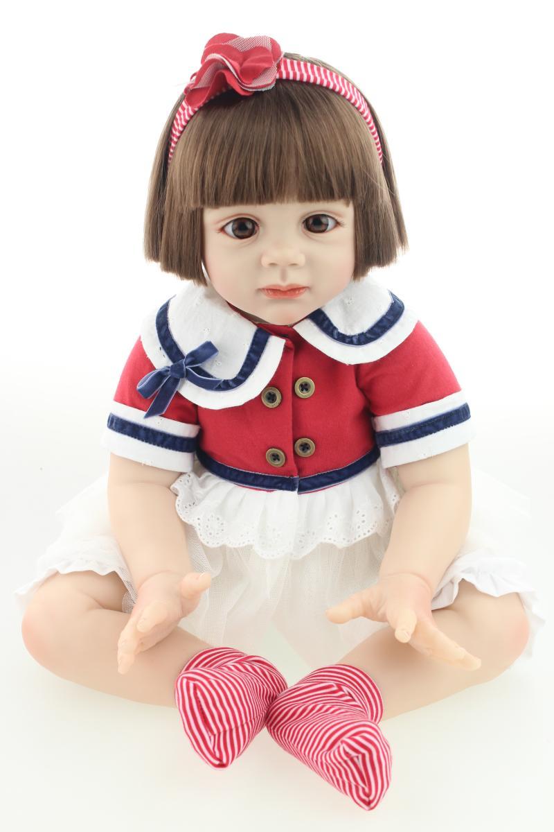 Улыбка Большой 60 см прекрасный силиконовые возрождается младенцы куклы для детей 23 дюймов малыш Playmate Игрушки имплантированных волос briquedos