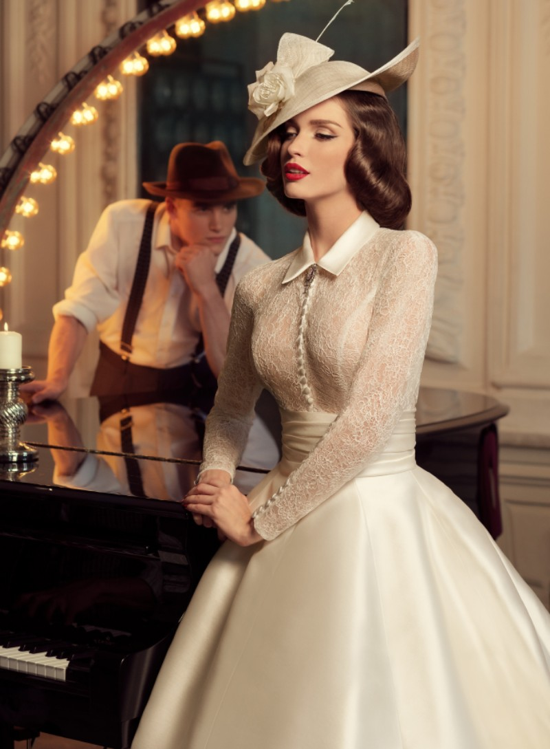 Vestido De Festa 1930s Vintage High Neck Long Sleeve Ball Gown Ivory ...