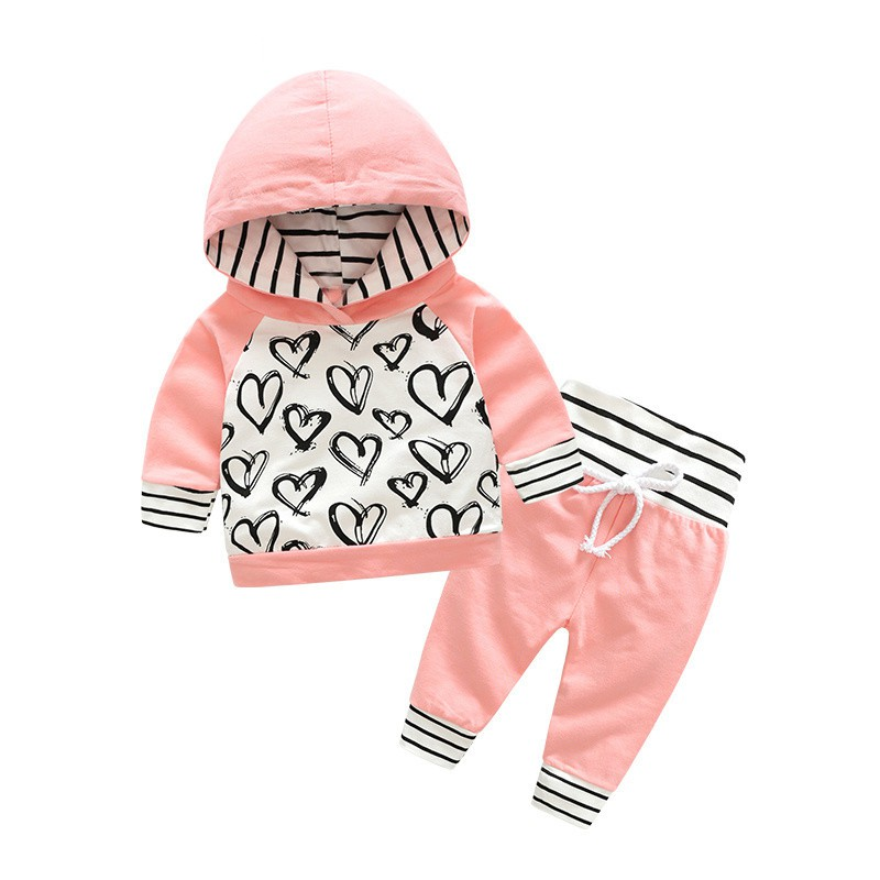 High Quality Fashion Cute Infant Newborn Baby Girl Clothes Hooded Sweatshirt Striped Pants 2pcs Outfit Cotton Baby Tracksuit Set