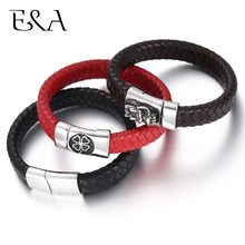 Unisex Braided Genuine Leather Bracelet Stainless Steel Magnetic Clasp for Women Men Gift Trendy Jewelry Woven Custom Bangle obsede fashion genuine leather bracelet for men jewelry stainless steel bangle magnetic clasp black braided rope chain male gift