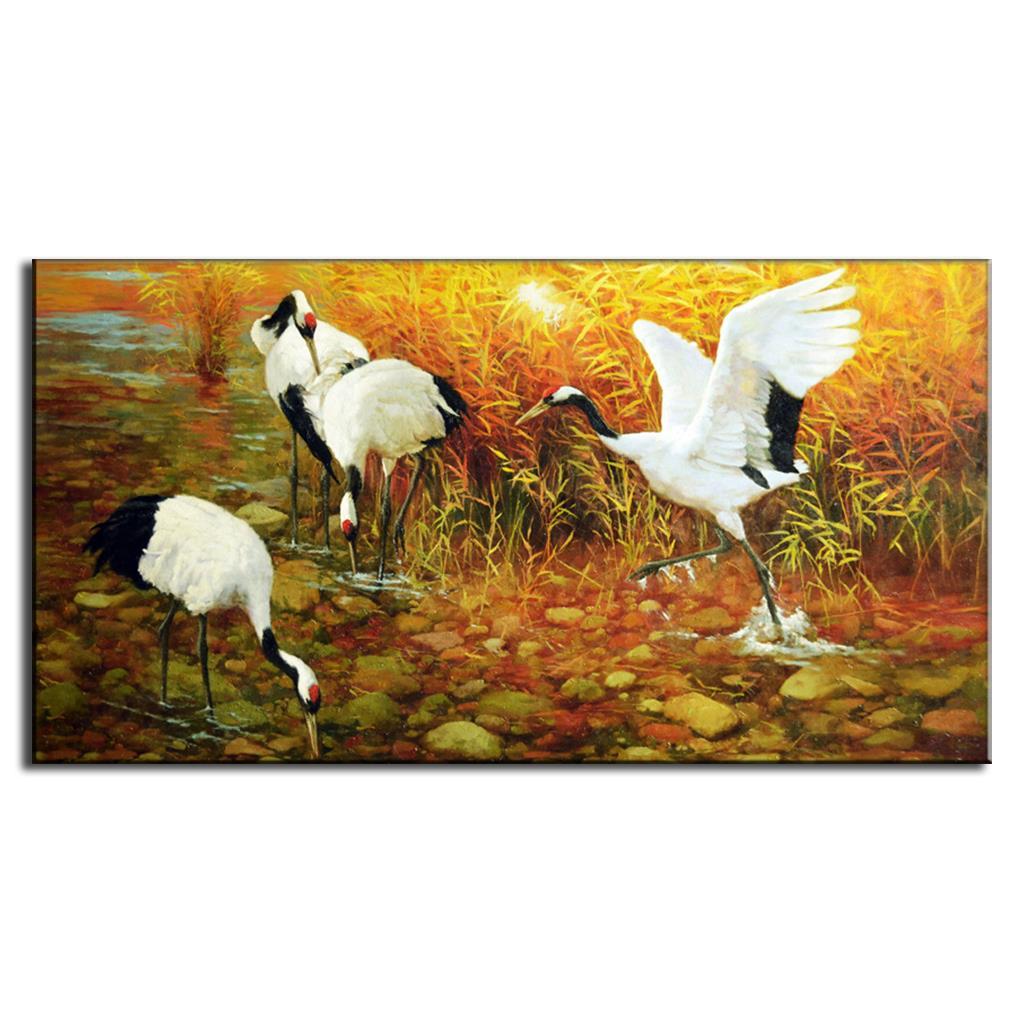 1 piezas de pintura de animales tradicionales chinos en lienzo Retro Egrets beber puesta de sol pintura decorativa para el hogar