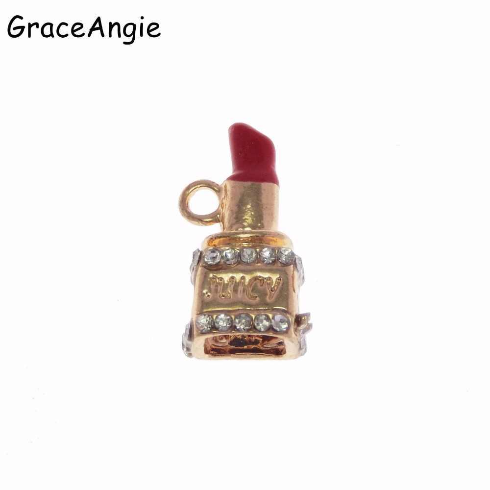 2 個エナメル口紅のネックレスのペンダントチャームジュエリー作成 Diy のため手作りクラフトアクセサリートーンエナメルリップジュエリー所見