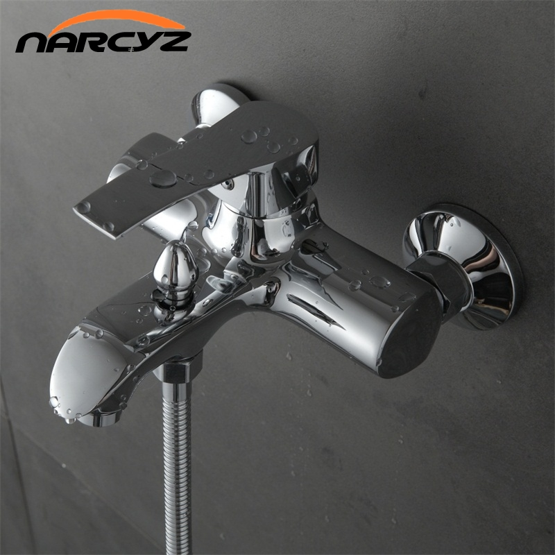 Narcyz NEW Shower Faucet Set Bathroom Faucet Chrome Finish Mixer Tap W/ ABS Handheld Shower Wall Mounted XT323 new chrome 6 rain shower faucet set valve mixer tap ceiling mounted shower set