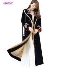 Top Velvet Genuine Mink Cashmere Coat Women 2018 Winter Runway Black Flowers Embroidery Long Trench Coat Female Mink Fur B126