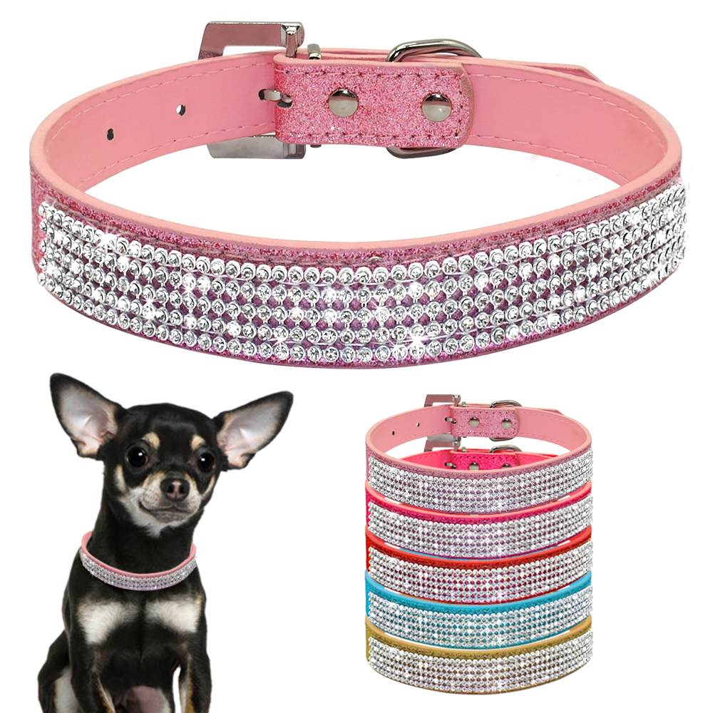 chihuahua collars bling diamante rhinestone pu leather cat dog collars pink 9006