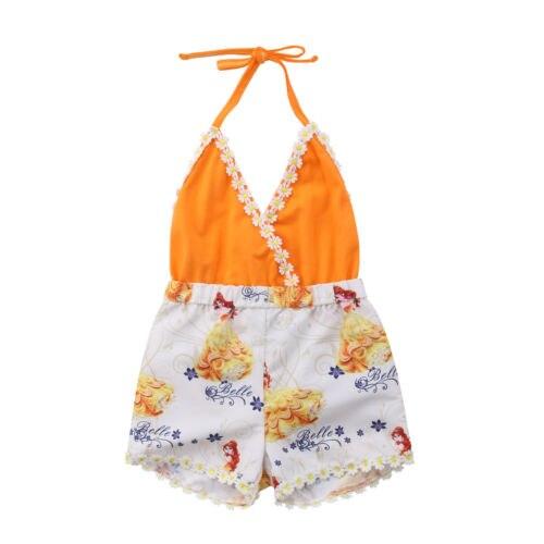 2018 Fashion Toddler Newborn Baby Girl V Neck Floral   Romper   Jumpsuit Sunsuit Summer Backless Clothes