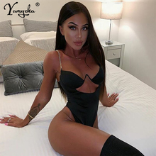 Sexy Red Black Metal chain bodycon Summer bodysuit Women Body mujer Beach wear Party Leotard Jumpsuit Luxury Nigh Club Overalls sexy black satin mesh perspective summer bodysuit women lace up metal chain bandage jumpsuit beach party night club overalls new