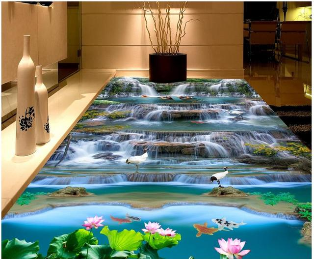 Photo collection 3d floor murals waterproof for Bathroom floor mural