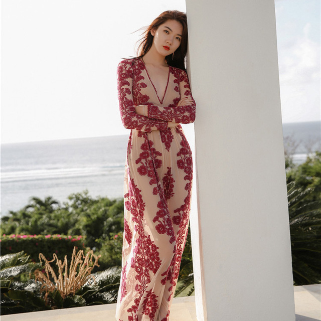 Sexy beach dress vacation long dress Embroidery Tansparent deep red nude lace  dress long women floral 25c97416b7