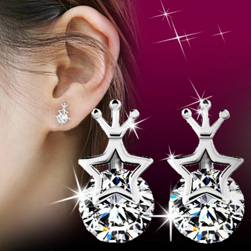 f20ab023e09d4 FD1200 Coroa linda Estrela De Prata Banhado Cristal Strass Branco Brinco Do  Parafuso Prisioneiro