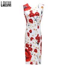 2017 New Summer Women Dresses Elegant Slim Dress Package Hip Pencil Vestidos Floral Printed midi Dress Sexy Bodycon Robe DR2159