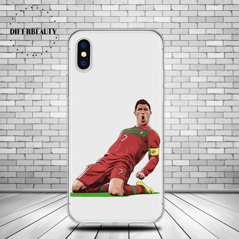 DIFFRBEAUTY Football Back Coque Phone Cases For iPhone 5s SE 6s 7 8 plus Famous Football Soccer Star Cristiano Ronaldo CR7 pogba