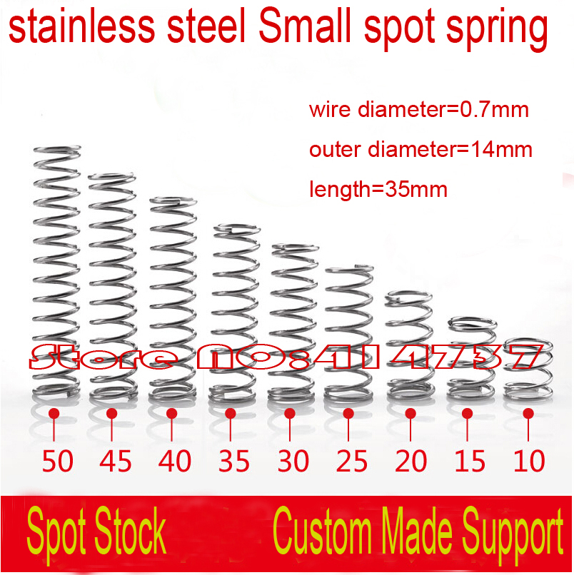 20 штук 0,7*14*35 мм 0,7 мм провода нержавеющая сталь небольшое пятно Весна Кнопка Весна Сжатие Весна пружина