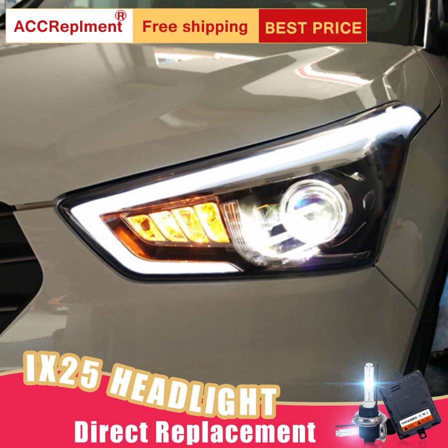 2Pcs LED Headlights For hyundai ix25 2015 now led car lights Angel eyes xenon HID KIT