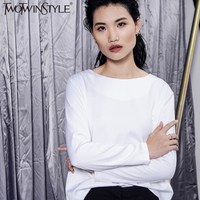 TWOTWINSTYLE Autumn Women Hollow Out Long Sleeve Solid T Shirt Irregular Black White Backing Shirt Personality