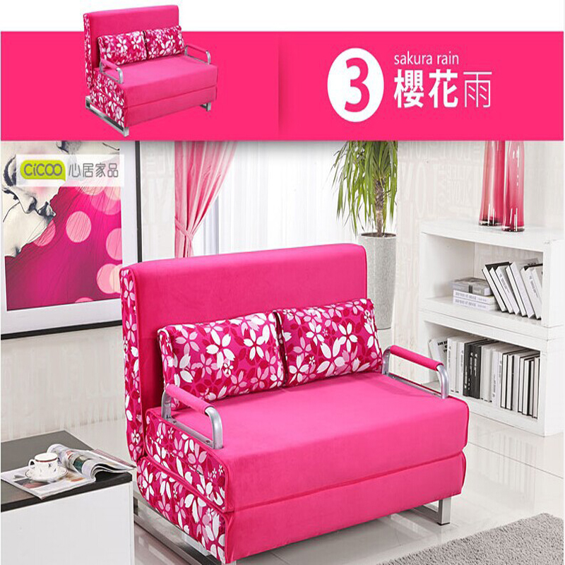 100% cotton sofa bed high resilience foam sponge sofa folding sofa ...