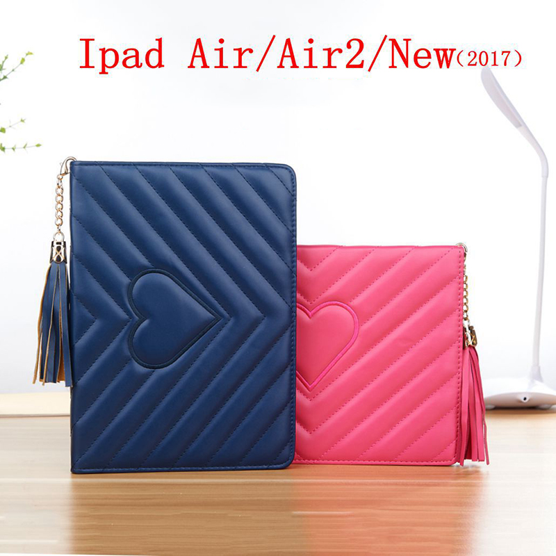 Smart Sleep Tassel pendant Case for IPad New 2017 for IPad 2 3 4 Shell Protective Cover for IPad Air 1 2 Lingge embroidery Case ipad 3 new 16gb