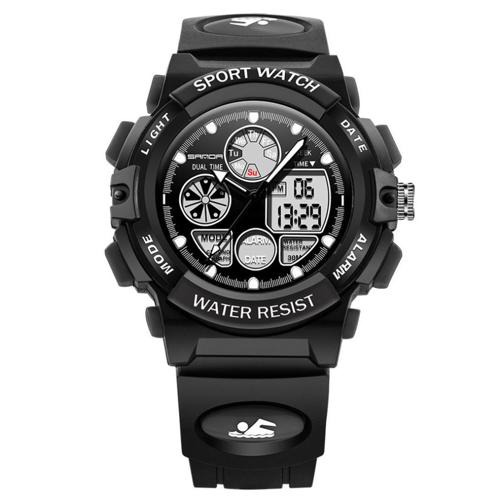 Boys Children Sport Watches Double Display Cold Light Electronic Waterproof Student Wrist Watch Bracelet Clock Reloj Hombre A80