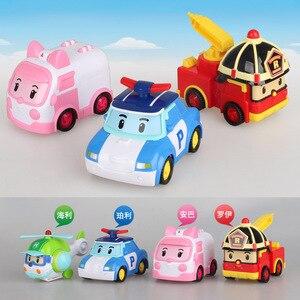 Image 2 - 4pcs Original boy poli Robocar Korea Poli Inertial Car Kids Toys Transformation Anime Action Figure Toys For Children Playmobil