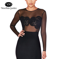 NewAsia Garden New Sexy Keyhole Cut Out Mesh Lace Bodysuits Playsuit Women Sheer Tops Long Sleeve