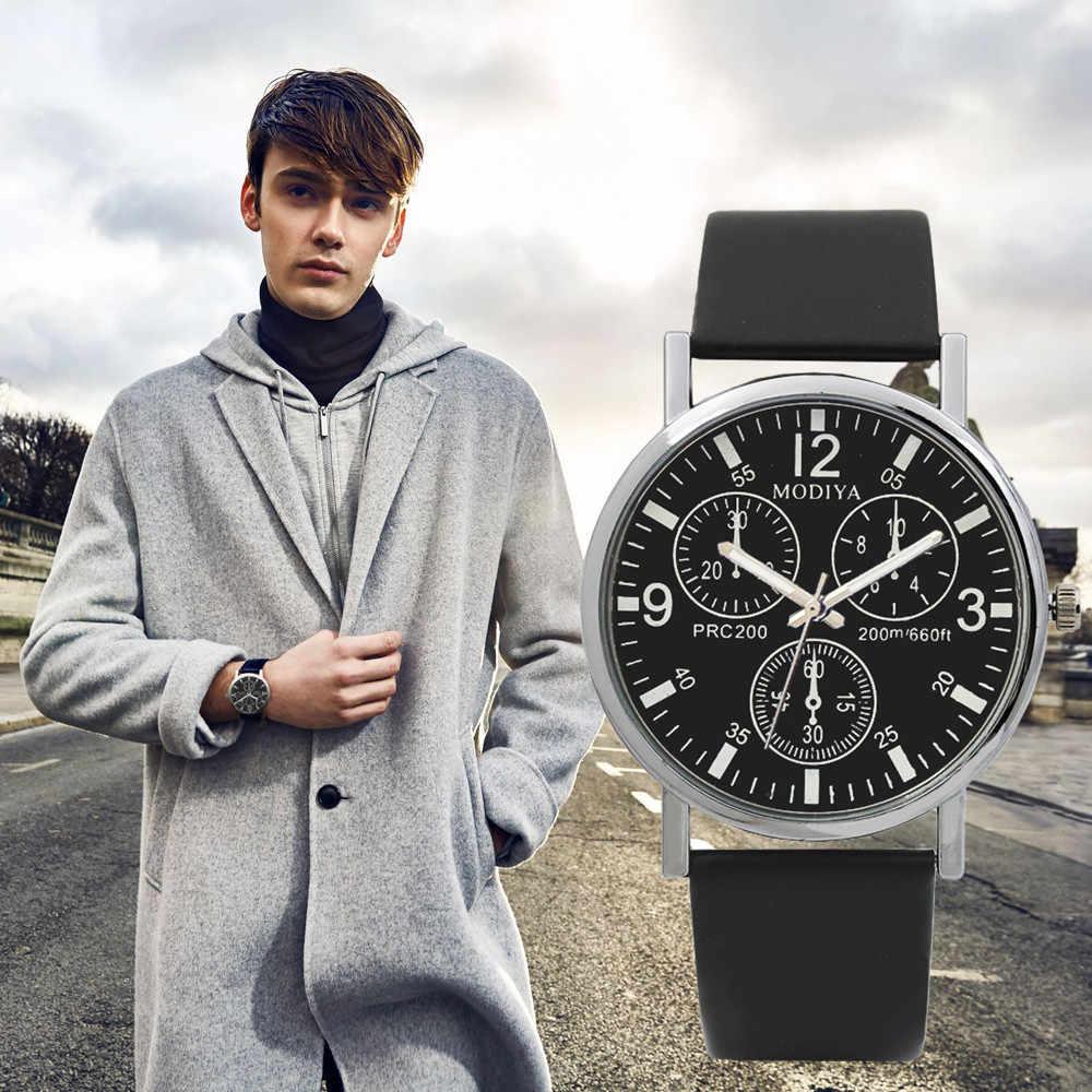 Drie Eye cool mannen Horloges Quartz heren Horloge Blauw Glas Riem Horloge Mannen relojes para hombre