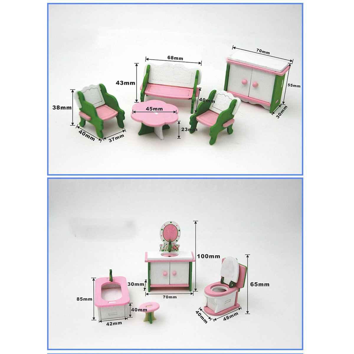 Cosas De Madera Para Bebes.49 Uds 11 Juegos De Muebles De Madera Para Bebes Casa De Munecas En Miniatura Juguetes Para Ninos Regalos