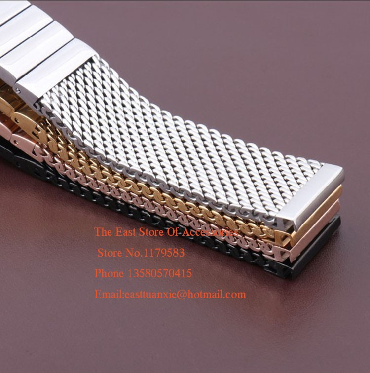 new arrival polished 18mm 20mm 22mm 24mm Black Silver Rosegold Gold Stainless steel Watchband Mesh strap