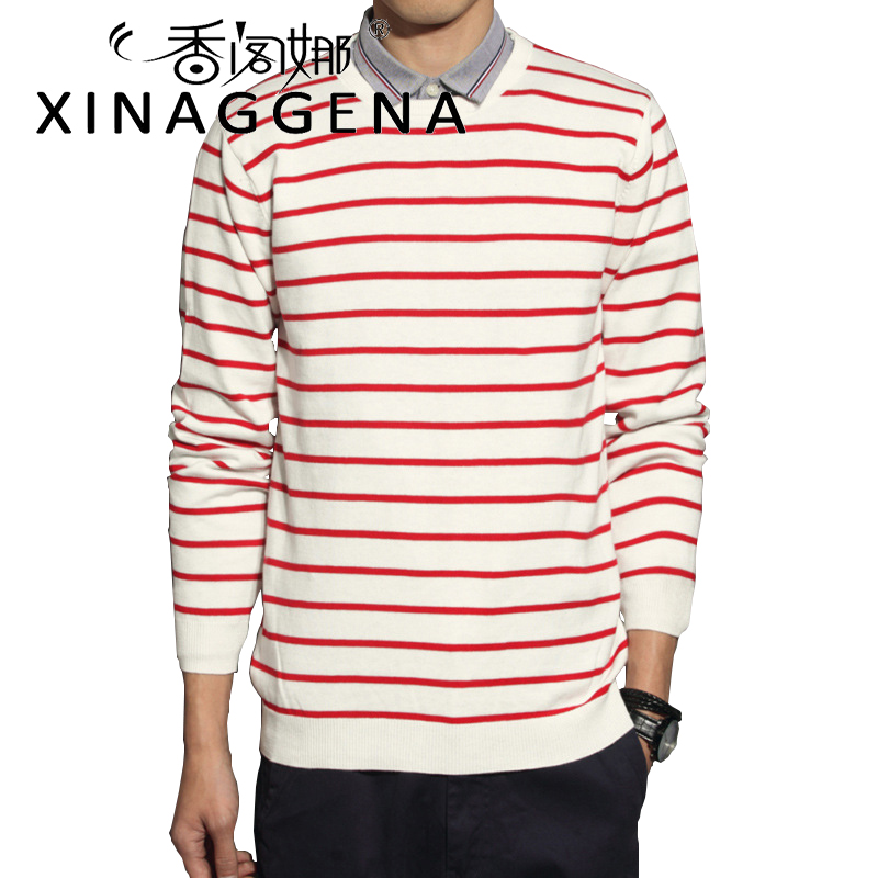 Striped Fashion Knitted Men Christmas Sweater Casual Youth Christmas Winter O Neck Long Sleeves Autumn Sweater Pullover Men