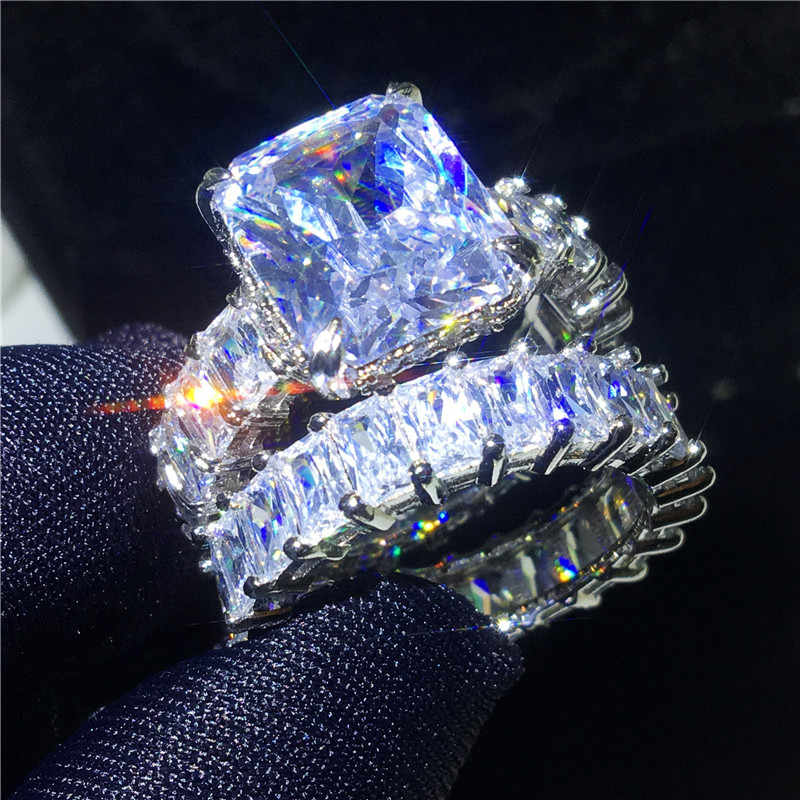 Vecalon Vintage Ring Sets 925 sterling zilver Princess cut Cubic Zirconia Engagement Wedding band ringen voor vrouwen mannen Sieraden