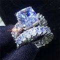 Vecalon Винтаж кольцо наборы 925 стерлингового серебра Принцесса cut кубический цирконий; для помолвки обручальные кольца для мужчин и женщин юве...