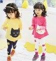 ¡ Libere los Nuevos 2016 Niñas Establece Niños Ropa 3 ~ 10Age gatos Niños de primavera + otoño 2 unids Set girls sistemas de la ropa de la camiseta + pantalones