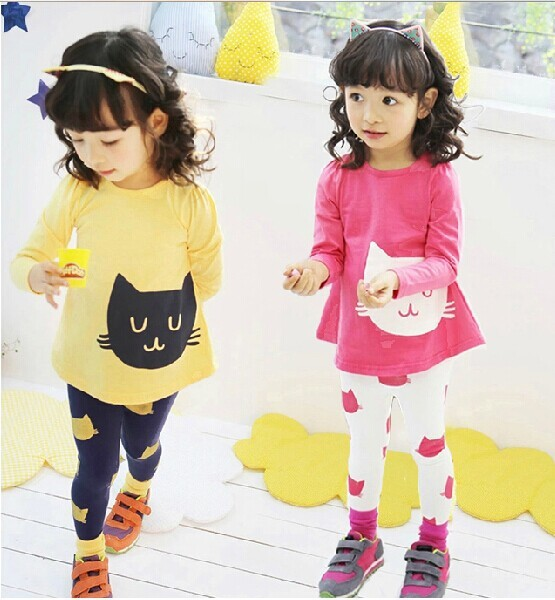 Free Ship New 2016 Girls Sets Kids Apparel 3~10Age cats Children spring+autumn 2pcs Set girls clothing sets shirt +pants 2017 new fall mustard yellow children sets ruffle butterfly sleeves infants clothing baby girl nursing accessory apparel