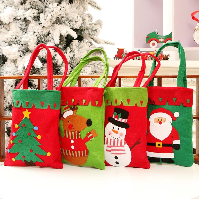 Christmas Gift Bags Images.Us 7 2 25 Off Reusable Christmas Gift Bags For Candy Christmas Santa Claus Snowman Gift Bag Handbag Christmas Decoration Christmas Supplies In