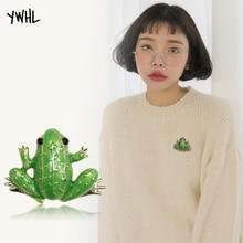 Exquisite metal green frog enamel pin luxury brooch jewelry,Rhinestone Colored glaze scarf hat sweater decoration broochs
