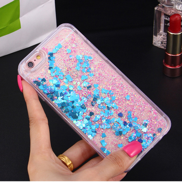 Heart Glitter Liquid Silicon iPhone Case