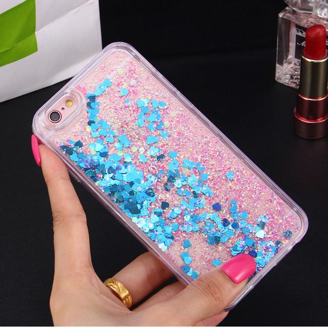 Heart Glitter Liquid Silicon iPhone Case