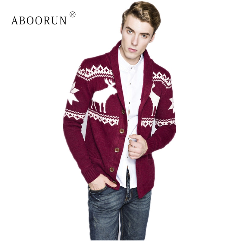 Mens Ugly Christmas Sweater.Us 29 08 45 Off Aboorun Winter Men S Ugly Christmas Sweater Deer V Neck Cardigan Sweater Single Breasted Knitted Sweaters For Male In V Neck From