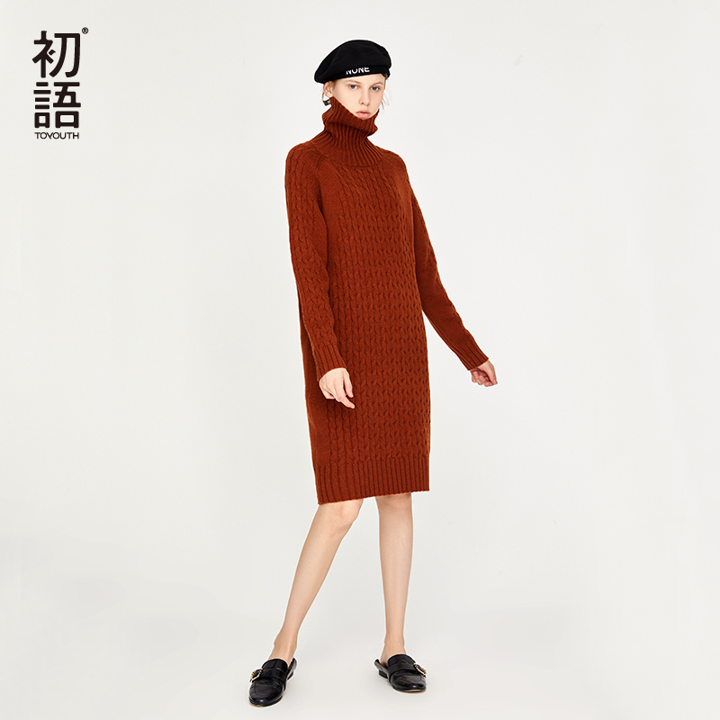 Toyouth Autumn Women Sweater Dresses Casual Turtleneck Long Sleeve Dress Knitted Elegant Thick Ladies Sweatshirt Dress New 2018