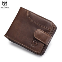 BULLCAPTAIN 2018 male leather wallet Men Wallet Cowhide Coin Purse Slim Designer Brand Wallet gift for men birthday Card wallet