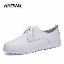 цены на HKOVAL Women Shoes Sneakers Genuine Leather Girls Lace Up Fashion Casual Shoes Comfortable Breathable Women Flats Large Size  в интернет-магазинах