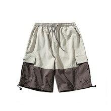 outdoor 2019 Summer hip hop patchwork elastic waist multi pocket loose trekking hiking tactical teenagers cargo shorts men