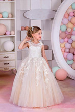 2016 Tulle Appliques Beaded Flower Girls Dress First Communion Dresses Cap Sleeve Ball Gown Long Girls Pageant Dress For Wedding