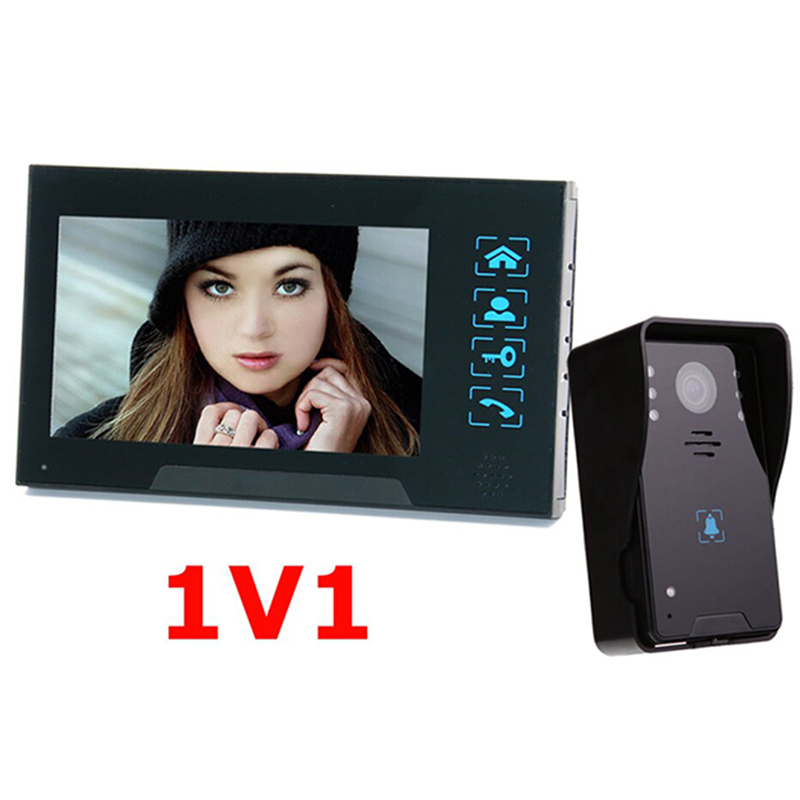 7''color TFT LCD wired video intercom doorphone Water oxidation-proof video with Electric lock-control Handfree function 7 inch video doorbell tft lcd hd screen wired video doorphone for villa one monitor with one metal outdoor unit night vision