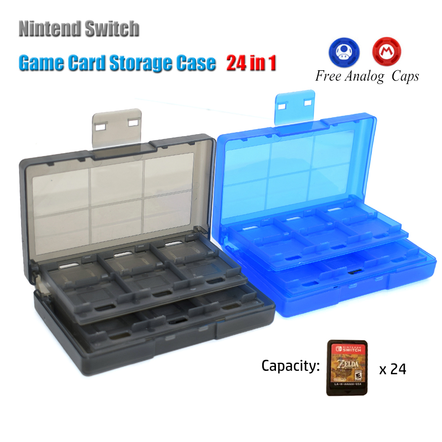 24 in 1 Nintend Switch NS Portable Game Cards Storage Case & 2 Analog Caps for Switch Game Card Storage Box cheerlink 18 in 1 game memory card storage case for psvita black
