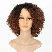 Парики синтетические термостойкие для плетения, Роскошные, с кудрявыми волосами, 14 дюймов, афро кудрявые, Омбре коричневый цвет