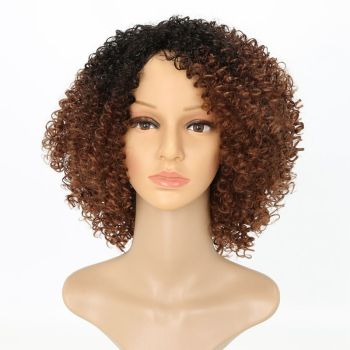"Luxury For Braiding Heat Resistant Fiber 14"" Ombre Brown Color Afro Kinky Curly High Temperature Synthetic Wigs"