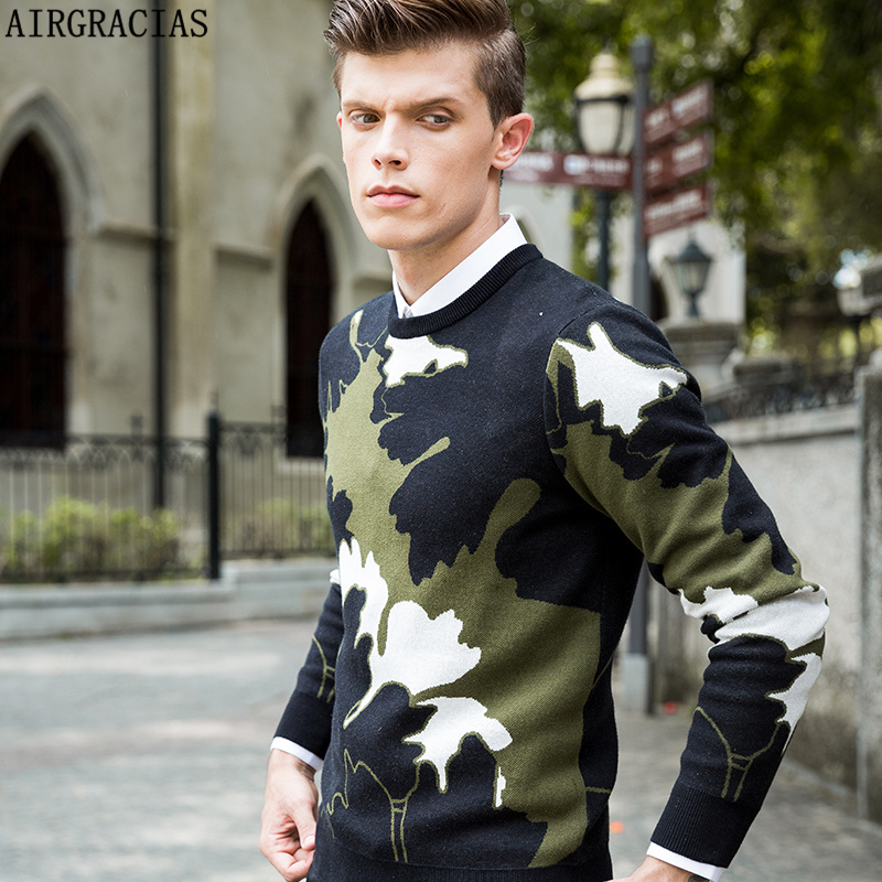 AIRGRACIAS New Arrivals Brand Clothing Casual Sweater Mens O-neck Patchwork Knitting Sweaters Long Sleeved Men Pullovers